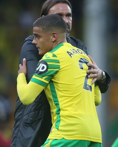 Norwich Head Coach Daniel Farke and Max Aarons of Norwich at the end of the Premier League match at