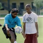 Sheffield Wednesday youth team coach and former English international Ricky Hill demonstrates proper