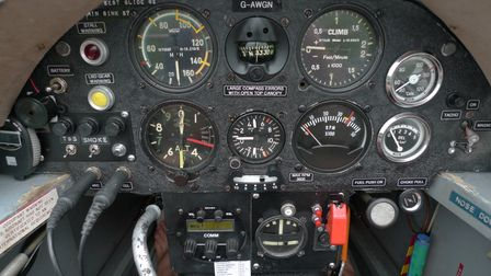 Close up of the control panel of a Fournier RF4D aircraft