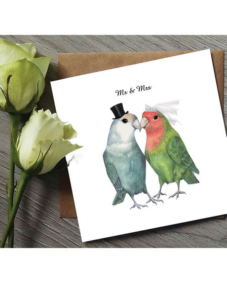 Rebecca's Lovebirds greetings card is popular with buyers from the USA