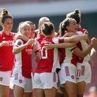 Arsenal's Vivianne Miedema celebrates scoring their side's first goal of the game with team-mates du