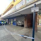 A police cordon on King Street, Great Yarmouth.
