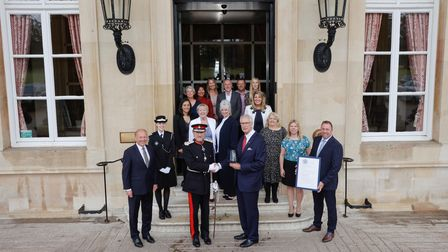Lord Lieutenant of HertfordshireRobert Voss with Ross Kennedy and staff of QHi Group