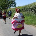 Anna Bassil is running the London Marathon in a giant cupcake costume.