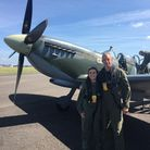 Olivia Sibly pictured just before her winning flight on a World War Two Spitfire