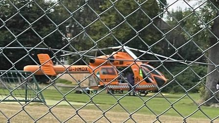 The air ambulance has been spotted landing in Castle Hill, Ipswich