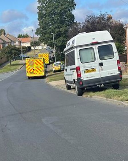 Ambulances parked in the estate