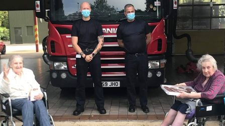 Orchard House Care Home in Wisbech marked Emergency Services Day by taking thank you cards and sweet treats tofirefighters.