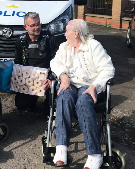 Orchard House Care Home in Wisbech marked Emergency Services Day by delivering doughnuts to local police