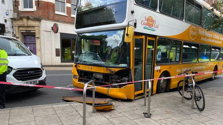 A bus has been involved in a collision with a van in the Orford Place area of Norwich.