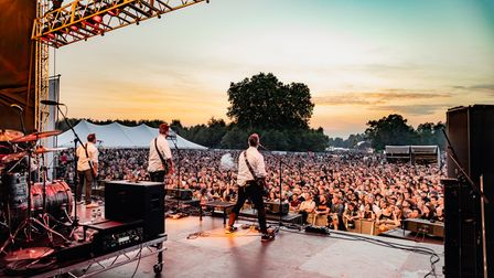 Frank Turner & The Sleeping Souls onthe Punk in Drublic stage at Slam Dunk Festival South 2021 in Hatfield Park.