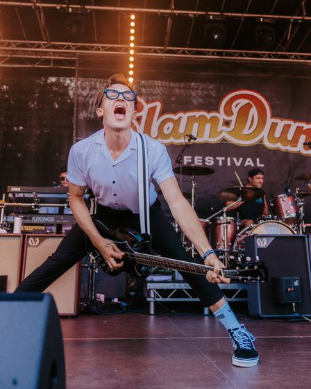 Tom Fletcher of McFly on stage at Slam Dunk Festival South in Hatfield.