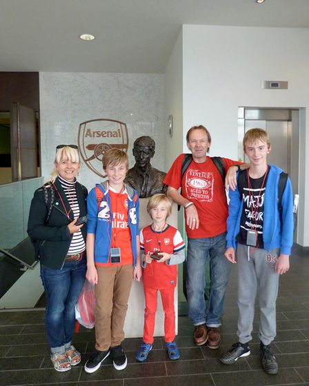 Norfolk Arsenal Supporters Club secretary andhonorary president Mark Scarfe with his family at the Emirates Stadium