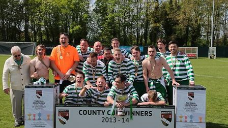 Chris Bailey is pictured on the far left after Moles Rest won the County Cup 2013/14