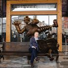 Nick Park takes a seat on Preston's new Wallace and Gromit bench