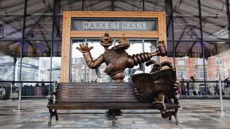 The Wallace and Gromit statue outside Preston Markets