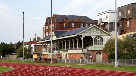 Wellesley football ground in Great Yarmouth, home to what is thought to be the oldest wooden stand i