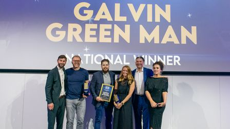 Galvin Green Man Essex team at award ceremony with Grace Dent