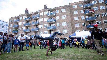 A breakdancer at the Frampton Park fun day.