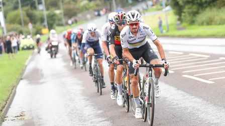 Julian Alaphilippe leads the select front group in the final stages of stage six of the 2021 Tour of Britain.