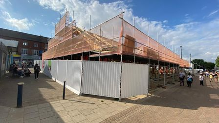 The outside of one half of the new market building is near completion.