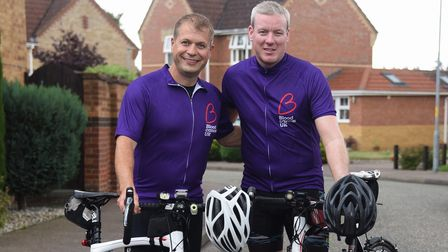 Rob Aldred, left, ready for his 160 miles cycle ride to Sheffield, with his friend, Scott Randall, t