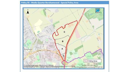 Map of the Media Quarter in Hertsmere Borough Council's draft Local Plan.