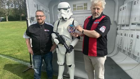 Lee Nelson, left, together with David Pye, Norwich Star Wars Club UK chairman, right, and a Stormtrooper.
