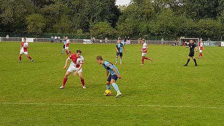 Myles Cowling on the ball for St Neots Town in their 4-1 win over Welwyn Garden City.