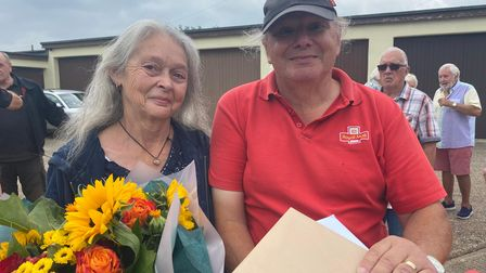 Jack and his wife Janet receiving gifts from residents