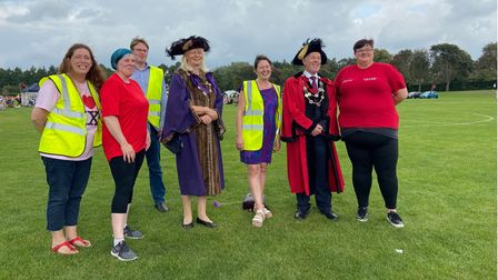 Chairwoman of Mile Cross Festival committee, Saffron King with committee members, Caroline Jarrold and Lord Mayor of Norwich