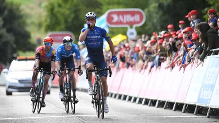 Yves Lampaert celebrates victory on stage seven of the 2021 Tour of Britain.