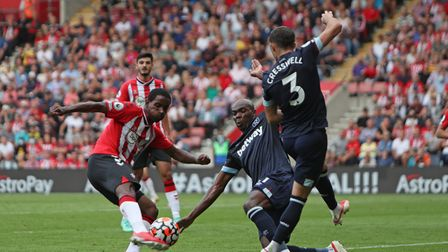 Southampton's Ibrahima Diallo shoots at goal during the Premier League match at St Mary's Stadium, S