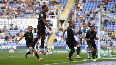Queens Park Rangers' Stefan Johansen celebrates his goal to make it 3-3 during the Sky Bet Champions