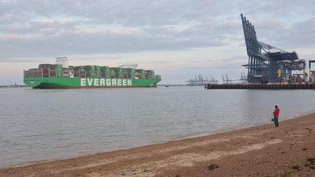The ship measures 400m in length and can hold nearly 24,000 containers