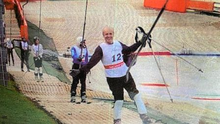 David Beckett, who died in February 2021, skiing at Norfolk Snowsports Club around six years ago