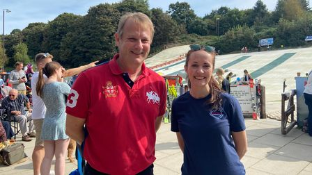 Richard Oliver, chairman of Norfolk Snowsports Club in Trowse, and Leah Fogg, office manager of the club.