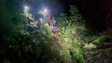 Volunteers helping to rescue Alexander Catt out of a Welsh gorge