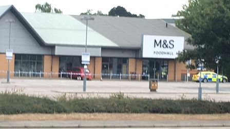 A car has crashed into the front of the M&S Foodhall in Martlesham Heath