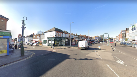 Cranbrook Road, Ilford, at the junction with Beal Road.