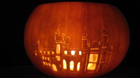 Knebworth House carved into a pumpkin for Halloween.