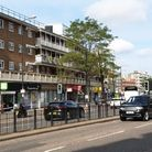 Police put up a cordon after the stabbing in Finchley Road