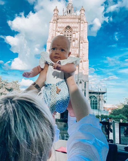 Laura and Dan's baby girl this weekend, happy and healthy on adventures in Norwich.