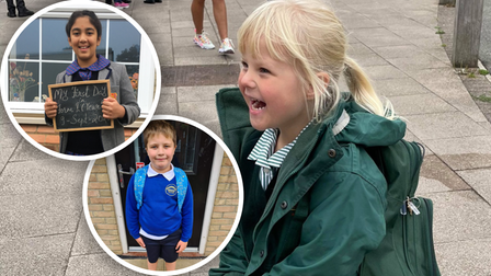 Pictures of happy children in Essex as they return to primary school this September