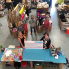 Julie Newman and Clare Passarelli awarding cheque at Community Scrapstore NS