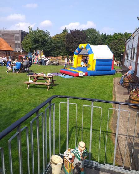 A Bouncy Castle was at the event.