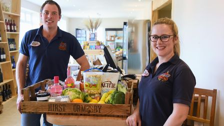 Robert and Becca Hirst in their expanded farm shop and cafe at Ormesby St Margaret