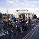 Cyclistsprotested for safer junctions on September 8, here riding towards Holborn from Silk Street