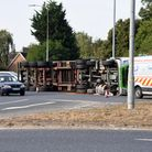 Overturned lorry on the A12 roundabout in Martlesham near Tesco PIcture: CHARLOTTE BOND