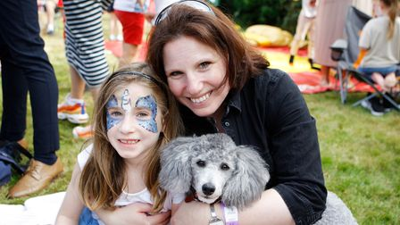 danceaid's Party in the Paddock was fun for all the family, as seen in this snap ofLaura and Rinia, 6, and dog Ash